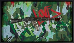 Make Love Not War (camo) by Dan Pearce - Original Wall Mountable Resin Sculpture sized 46x26 inches. Available from Whitewall Galleries